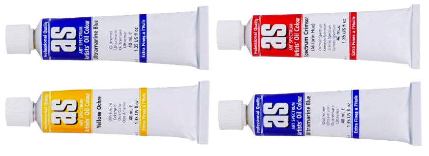 Art Spectrum Artist Oil 40ml Tubes in colours Red, Blue and Yellow