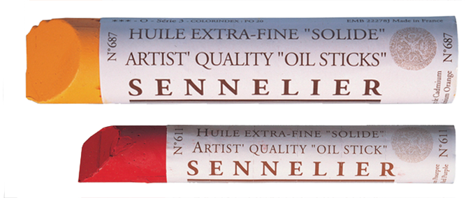 Sennelier Oil Sticks in Colours Orange and Red
