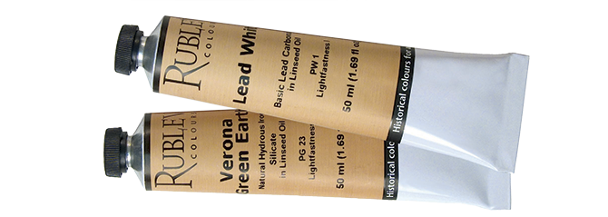 Rublev Artists Oil 50 ml tube in colours Lead White and Verona Green Earth
